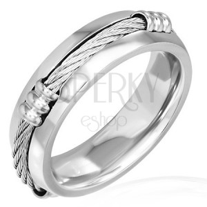 Prsten z oceli s keltským lanem a sníženými okraji