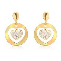 Zlaté náušnice 585, ploché kruhy s výřezem, zirkonové srdce GG11.34