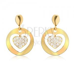 Zlaté náušnice 585, ploché kruhy s výřezem, zirkonové srdce
