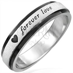 Ocelový prsten s černými kraji, Forever Love