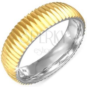 Zlatý prsten z chirurgické oceli - vroubkovaný