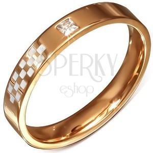 Růžovozlatý prstýnek z oceli, bílá šachovnice, zirkon