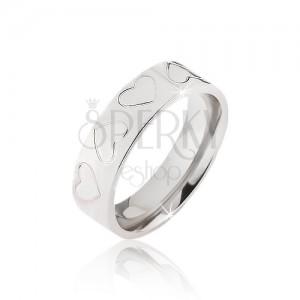Ocelový prsten stříbrné barvy, srdcové zářezy