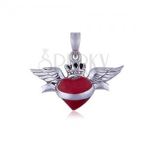 Přívěsek ze stříbra 925, okřídlené červené srdce se stuhou