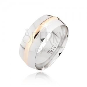 Zaoblený ocelový prsten, zlatý středový pás