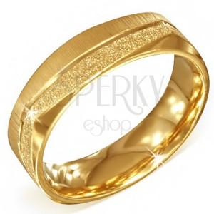 Hranatý zlatý ocelový prsten - pískovaný a saténový pás