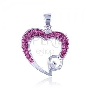 Růžový zirkonový obrys srdce - přívěsek ze stříbra 925