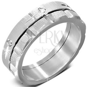 Prsten z oceli - točící se zdobený saténový a pískovaný pás