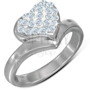 Prsten z chirurgické oceli, velké vypouklé zirkonové srdce