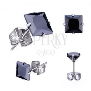 Puzetové náušnice z oceli, černý čtvercový zirkon - různé velikosti