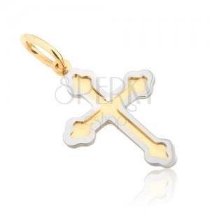 Přívěsek ze zlata 14K - dvoubarevný jetelový kříž, dvojitý