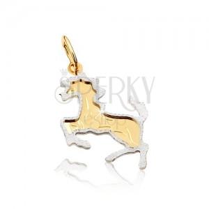 Zlatý dvoubarevný přívěsek 585 - kůň postavený na zadních nohou, gravírovaný