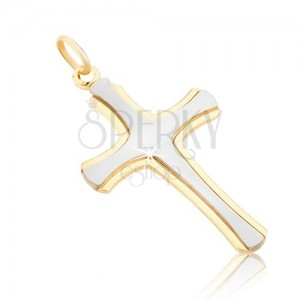 Přívěsek ze zlata 14K - matný latinský kříž v bílém zlatě, lesklé okraje