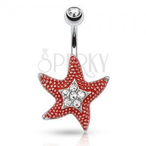 Ocelový piercing do pupku s čirým kamínkem, červená hvězdice