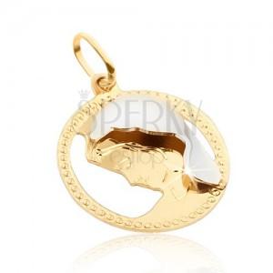 Zlatý přívěsek 585 - kulatý zdobený rámeček, Madona, zlato-bílá kombinace
