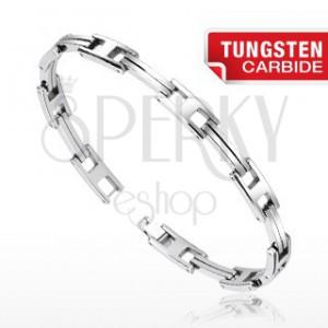 """Stříbrný náramek z chirurgické oceli - zdvojené pásky a písmeno """"H"""""""