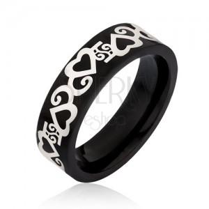 Černý prsten z chirurgické oceli, stříbrné obrysy srdcí s vlnkami