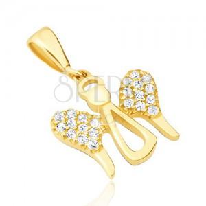 Zlatý přívěsek 14K - symbol andílka se zirkonovými křídly