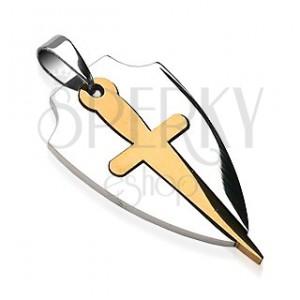 Přívěsek z chirurgické oceli ve dvou barvách - štít a meč