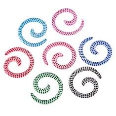 Expander do ucha - bílý šnek s barevnými tečkami