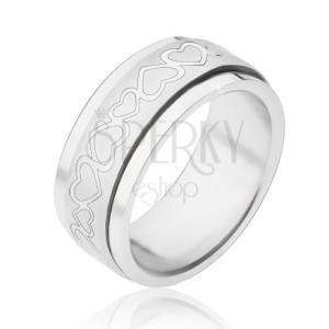 Prsten z oceli - točící se matná obruč se srdíčky