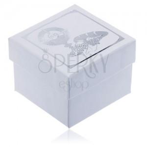 Bílá dárková krabička se stříbrným motivem 1. svatého přijímání