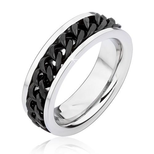 Levně Stříbrný prstýnek z chirurgické oceli s točícím se černým řetízkem - Velikost: 72