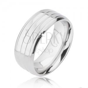 Prsten z titanu stříbrné barvy - tři pásy a zkosené hrany