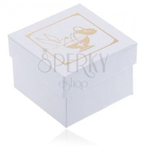 Třpytivá bílá dárková krabička - zlatý džbán, kalich a holubice