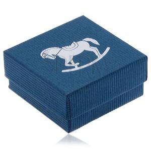 Modrá krabička na šperk, stříbrný houpací koník