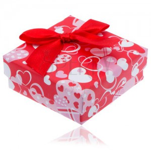 Červená srdíčková krabička na náušnice s červenou mašlí