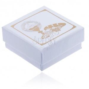 Krabička na šperk bílé barvy se zlatým kalichem, chlebem a hrozny