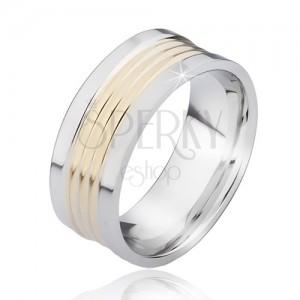 Dvojfarebný oceľový prsteň so zaoblenými zlatými pásmi