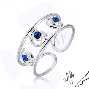Stříbrný prsten 925 na ruku nebo nohu, tři modré zirkony ve spirálách