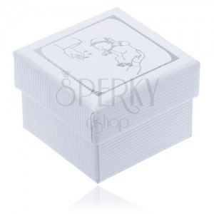 Vroubkovaná bílá dárková krabička, motiv křtu stříbrné barvy