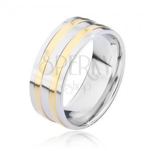 Stříbrný ocelový prsten se dvěma úzkými zlatými pásy