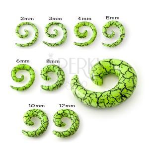 Expander do ucha - světle zelený šnek s efektem černých prasklin
