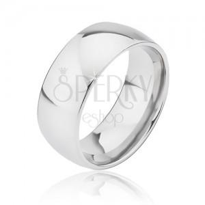 Zaoblený hladký titanový prsten stříbrné barvy