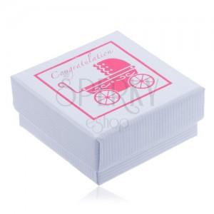 Bílá vroubkovaná krabička na šperk s růžovým dobovým kočárkem