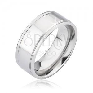 Lesklý stříbrný prstýnek z titanu se dvěma rýhami
