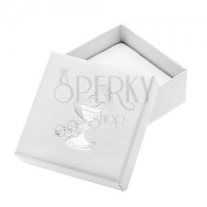 Perleťově bílá krabička na náušnice se stříbrným kalichem