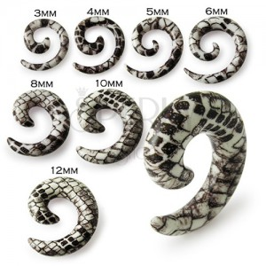 Šnek do ucha - bílohnědý expander s hadím motivem
