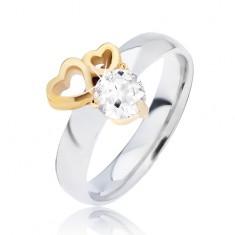 Lesklý ocelový prsten se zlatými obrysy srdcí a čirým zirkonem L13.05