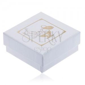 Perleťově bílá krabička na náušnice, zlatý džbán, kalich a holubice