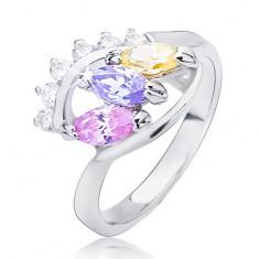Lesklý prsten stříbrné barvy - elipsa s barevnými zirkony L12.01