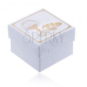 Bílá krabička na prsten se zlatým motivem 1. svatého přijímání - vroubkovaná