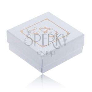 Lesklá bílá krabička na náušnice, zlatý motiv křtu
