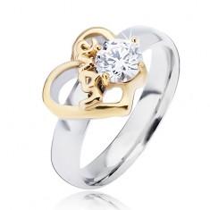 Ocelový prsten se zlatým obrysem srdce a čirým zirkonem, Love L13.01