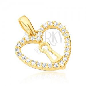Přívěsek ve žlutém 14K zlatě - pravidelný obrys srdce, zámek, zirkony
