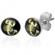 Náušničky z oceli - štír žluté barvy na černém podkladu, průsvitná glazura